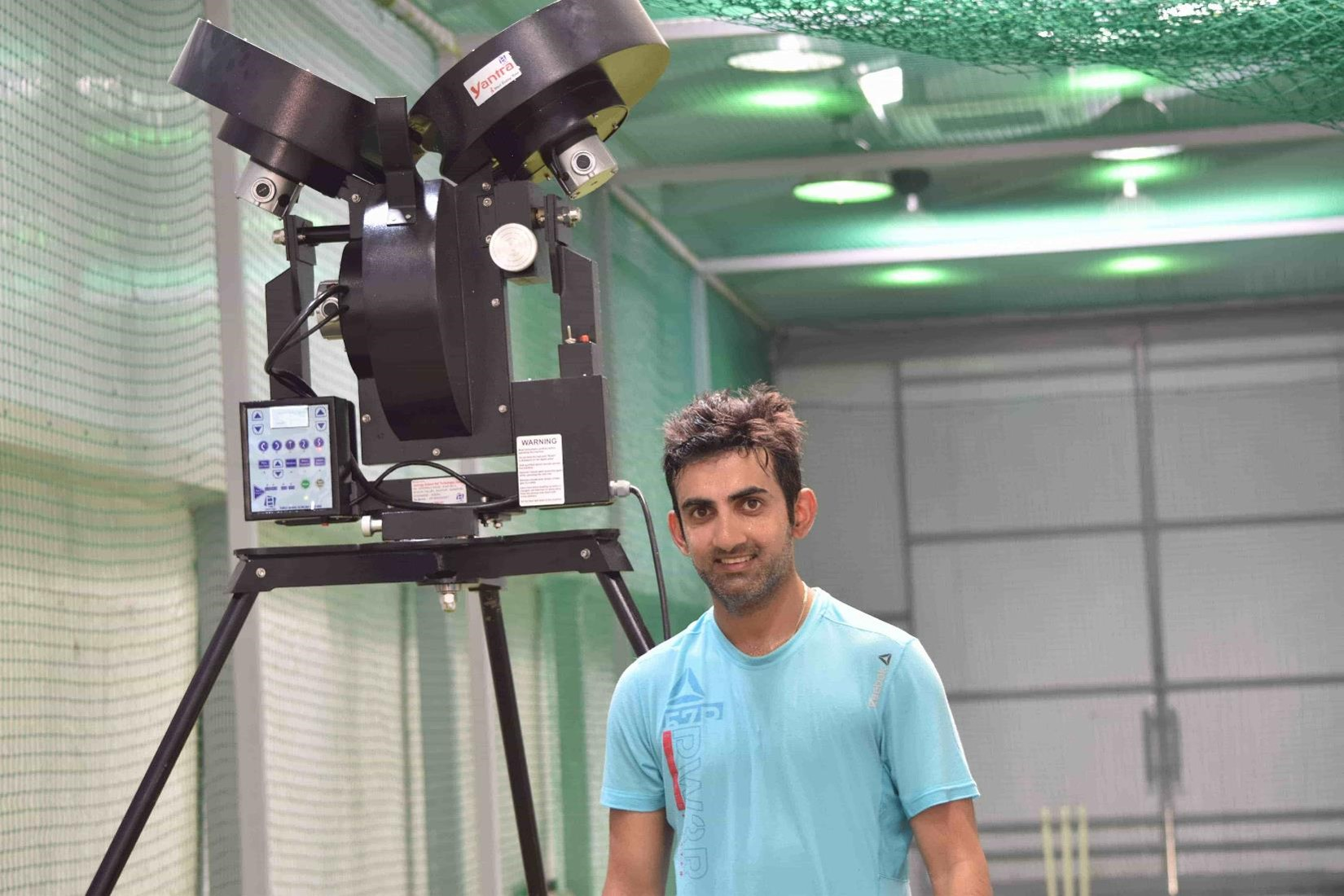 Gautham Gambhir with Leverage Bowling Machine
